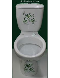 Toilettes-WC en porcelaine au décor artisanal fleurs vertes
