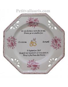 Grande assiette de Mariage modèle octogonale personnalisée décor fleurs tradition rose + Poème noces d'or