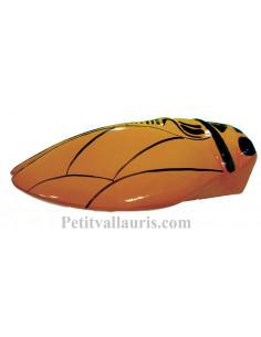 Grande cigale en céramique au décor olives noires et couleur jaune provençal (Taille.5)