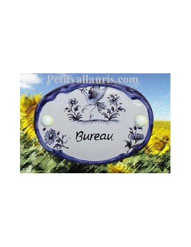 Plaque de porte ovale Bureau vieux moustiers bleu