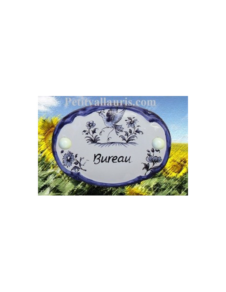 Plaque de porte modèle ovale décor tradition motifs bleus avec inscription Bureau