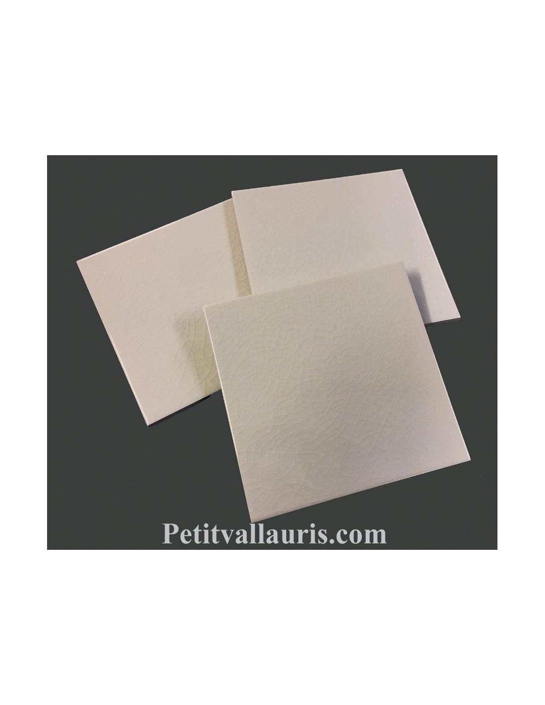 Carreau Faience Emaille Uni Ivoire Blanc Creme Craquele Comme Les Anciens 15 X 15 Cm Epaisseur 0 6 Cm