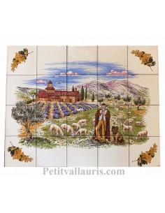 Fresque murale en faïence Provençale décor Berger + monastère + champs de lavande avec brins de mimosas