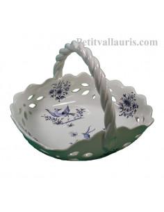 Panier à fruits ajouré en faience blanche reproduction décor Tradition bleu Diamètre 26 cm