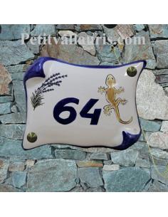 Plaque de Maison en faience modèle parchemin motif artisanal brin de lavande et salamandre de la réunion +  personnalisation