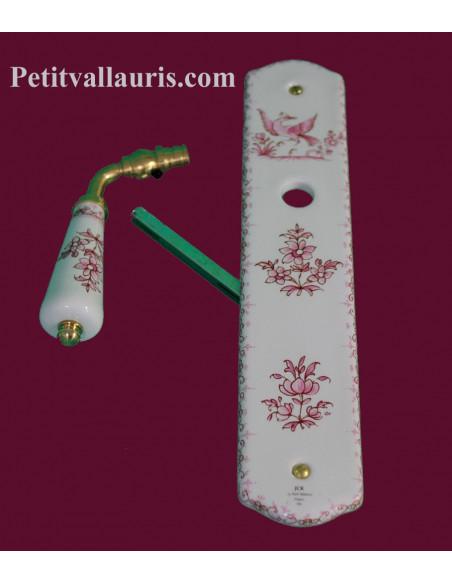 Plaque de propreté en porcelaine blanche pour une porte sans orifice pour clé motif tradition rose