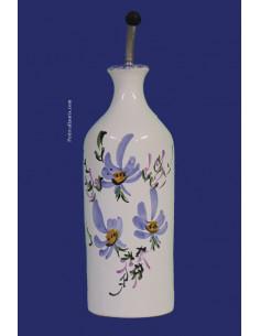 Huilier bouteille en faïence décor artisanal Fleuri bleu