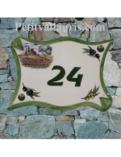 Plaque de maison en céramique modèle parchemin motif cabanon + coquelicots + olivier personnalisée vert