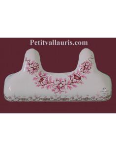 Accroche torchon en faience blanche avec 2 crochets décor fleurs Tradition camaieux de rose