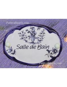 Plaque de porte ovale Salle de bain vieux moustiers bleu