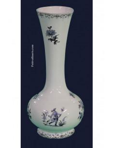Vase Soliflore modèle boule en faïence blanche décor Tradition motif camaieux de bleu