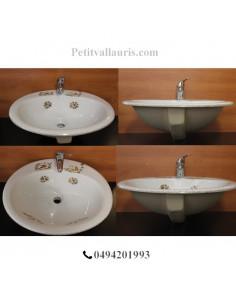 Vasque ovale en porcelaine blanche à encastrer décor reproduction Tradition Vieux Moustiers polychrome