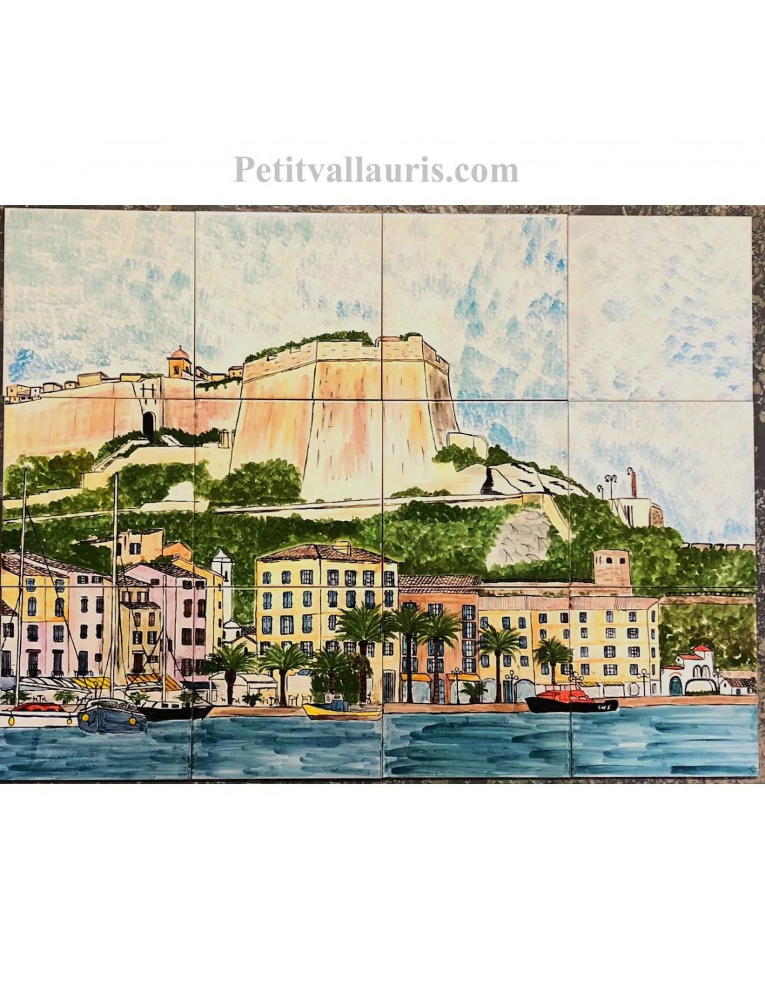 Fresque murale sur carrelage en faience motif artisanal paysage port de Bonifacio 60x80 - LE ...