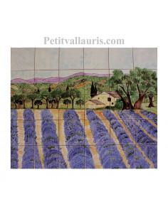 Fresque murale sur carrelage en faience motif artisanal paysage champs de lavandes et bastide 50 X 60 cm