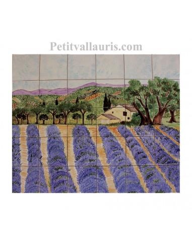 Fresque murale sur carrelage en faience motif artisanal paysage champs de lavandes et bastide 50 ...