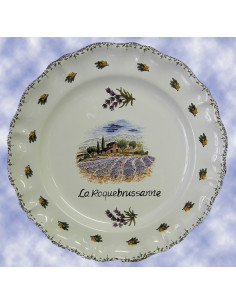 Assiette murale en faience modèle Louis XV décor paysage champs de Lavande avec inscription possible