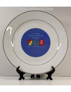 Assiette pour jumelage en porcelaine inscription et logo personnalisé