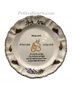 Assiette anniversaire 60 ans de mariage modèle Louis XV Poème Noces de diamant motifs de provence