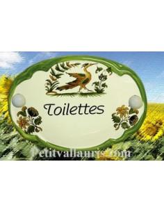 Plaque de porte ovale Toilettes vieux moustiers polychrome