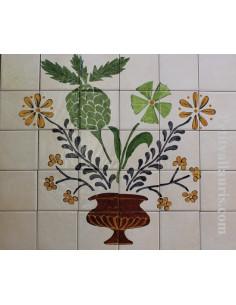 Fresque murale sur carreaux de faience décor artisanal modèle naif Pot et Fleur 50x60