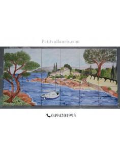 Fresque murale sur carreaux de faience décor artisanal modèle Voilier et Calanque 45x90