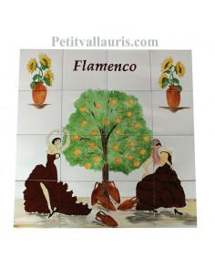 Fresque murale sur carreaux de faience décor artisanal modèle danseuses de flamenco 80x80