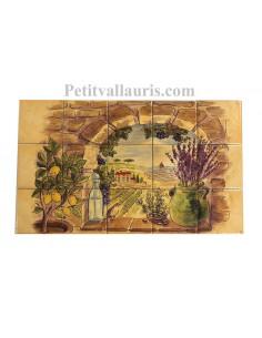 Fresque murale sur carreaux jaune-ocre clair motif Trompe L'oeil paysage de provence