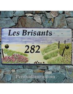 Grande plaque d'habitation en céramique émaillée décor artisanal plage littoral atlantique + inscriptions personnalisée
