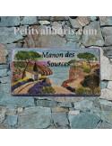 Plaque de Maison en céramique émaillée décor artisanal calanque de provence + inscription personnalisée