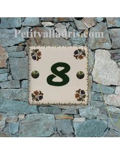 Plaque numéro de maison décor fleurs et frise tradition vieux moustiers