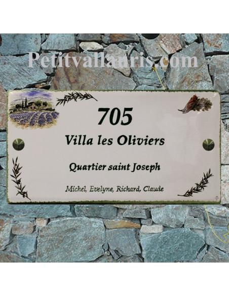 Grande plaque de maison rectangulaire 20x40 en céramique émaillée motif  Champ de Lavandes et Brins d'Olives + personnalisation