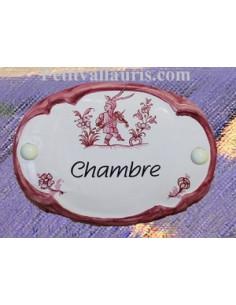 Plaque de porte ovale Chambre vieux moustiers rose