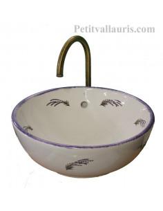 Vasque blanche modèle bol ronde en porcelaine motifs brins de lavande de Provence