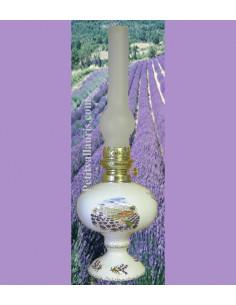 Lampe bec à pétrole émaillée blanche décor Paysage provençal Champs de lavande (montage au choix)