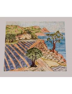 Fresque murale sur carreaux de faience décor artisanal modèle Voilier et Calanque 100x150