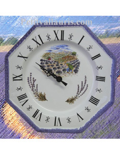 Horloge murale en faience modèle octogonale motif Cueillette des lavandes