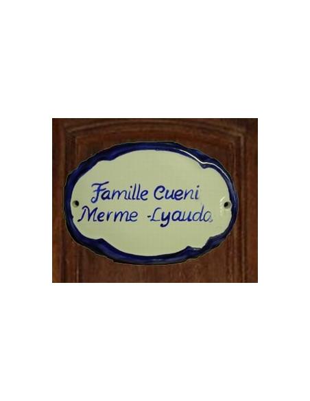 Plaque de porte en faience blanche bord de couleur modèle ovale avec inscription personnalisée