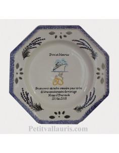 Grande Assiette souvenir de Mariage modèle octogonale décor brins de lavandes et navire de croisière + personnalisation