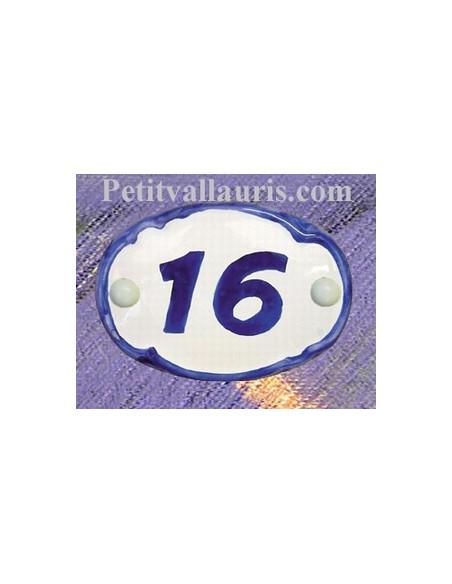 Plaque de porte en faience blanche bord de couleur bleu modèle ovale avec chiffre personnalisable