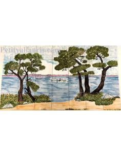 Fresque murale sur carrelage en faience décor artisanal motif bord de mer 60 x 105