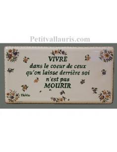 Plaque funéraire en céramique modèle rectangulaire à fixer motifs fleurs polychromes + inscription personnalisée