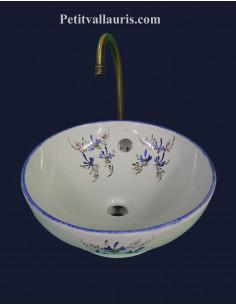 Vasque bol ronde à poser en porcelaine blanche reproduction décor artisanal fleurs bleues