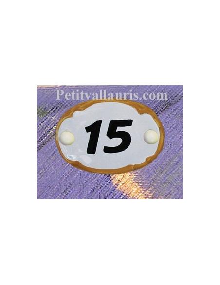 Plaque de porte en faience blanche bord de couleur jaune foncé modèle ovale avec chiffre noir personnalisable