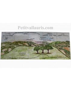 Fresque murale sur carrelage en faience motif artisanal paysage table orentation dans le Tarn 100x40 cm