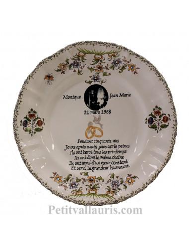 Assiette de Mariage en faience blanche modèle Louis XV motif fleurs polychromes avec photo et inscription personnalisée