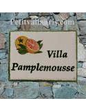 plaque de maison céramique personnalisée décor artisanal pamplemousse inscription couleur verte