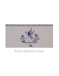 carrelage mural 10 x 20 en faience motif oiseau (ref 5204) décor tradition bleu avec frise