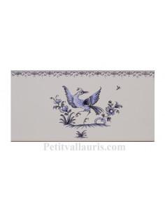 carrelage mural 10 x 20 en faience motif oiseau (ref 5197) décor tradition bleu avec frise