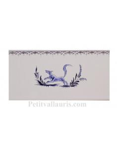carrelage mural 10 x 20 en faience motif renard décor tradition bleu avec frise