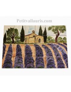 Fresque murale sur carreaux de faience décor artisanal modèle Chapelle et Lavandes 40x60